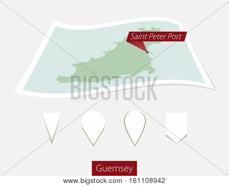 Curved Paper Map Of Guernsey With Capital Saint Peter Port On Gray Background. Four Different Map Pi