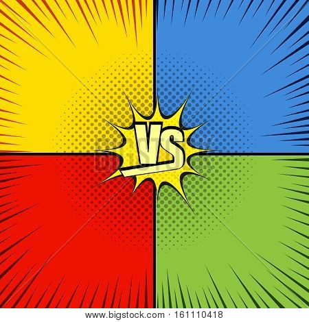 Comic fight template with four opposite sides in pop-art style.Versus wording. Representation of confrontational warriors before battle. Vector illustration