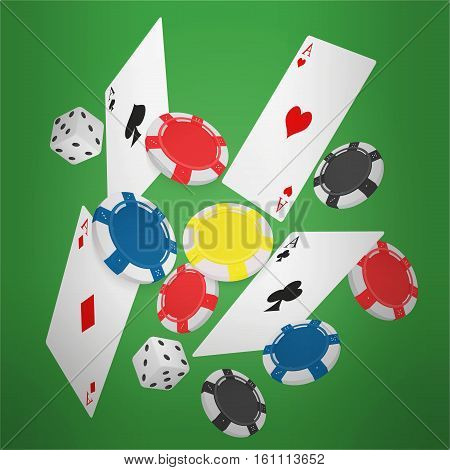 Casino Concept Floating Cards and Chips. Casino poker design template. Falling poker cards and chips game green lucky background