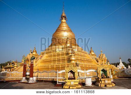 Kuthodaw gilded pagoda in Mandalay. In Burmese known as the Maha Lawka Marazein Paya, Myanmar