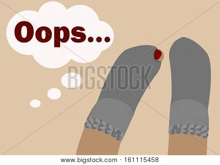 Holey socks. A pair of socks with holes which show thumb. Illustration in a flat style.Text ...Oops.