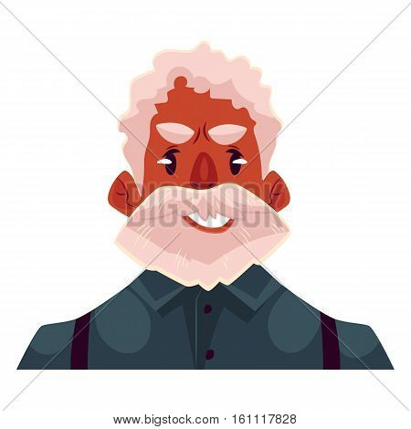 Grey haired old african man face, upset, confused facial expression, cartoon vector illustrations isolated on white background. Old black man feeling upset, concerned, confused frustrated.