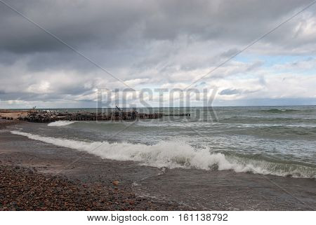 The storm on Lake Superior in the area Whitefish Point Beach, Chippewa County, Michigan, USA