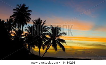 sunset over Caribbean Sea, Turtle Beach, Tobago