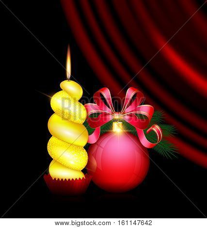 black background, dark crimson drape and the large red ball with branch of tree and bow, the big yellow burning candle