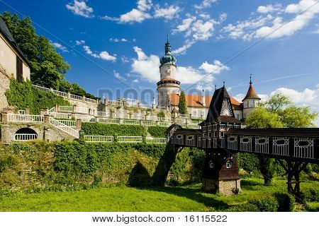Castle of Nove Mesto nad Metuji with covered wooden bridge by Dusan Jurkovic, Czech Republic