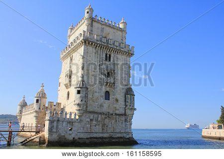Belem tower famous castle in Lisbon Portugal