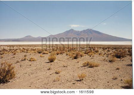 Salar White Desert With Mountains, Uyuni, Bolivia