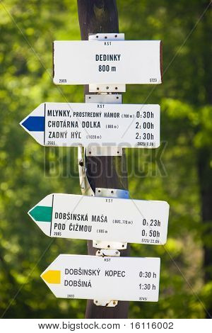 guidepost, Dedinky, Slovakia