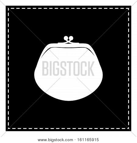Purse Sign Illustration. Black Patch On White Background. Isolat