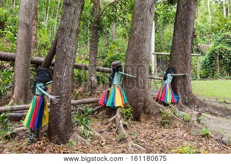 Botanical Park - Garden of Sleeping Giant Nadi Fiji. Figures made from waste - protection and saving the environment