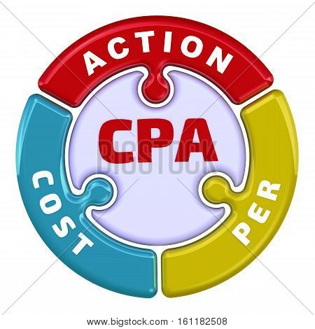 CPA. Cost Per Action. The check mark in the form of a puzzle. The inscription