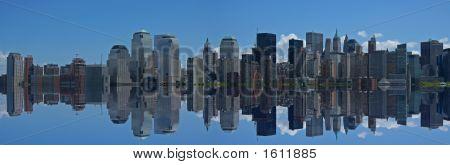 Manhattan Panoramic And Reflection