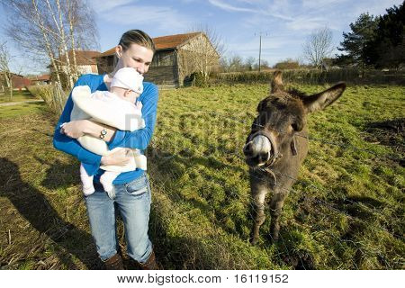mother with her child looking at donkey, Champagne, France