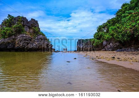 The islands - rocks in shallow water and beautiful beaches with fine yellow sand. Rest of the Andaman Sea.