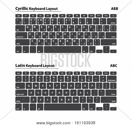 Cyrillic and Latin alphabet keyboard layout set - Isolated Vector Illustration