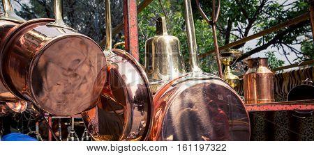 Assortment of copper kitchenware in San Telmo market