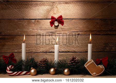 Christmas Card: Christmas Tree Branches, Cones, Candle, Candy Hook, Balls, Sticks On The Wooden Back