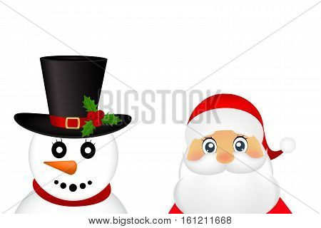 Santa Claus and Christmas snowman on a white background are standing, vector illustration