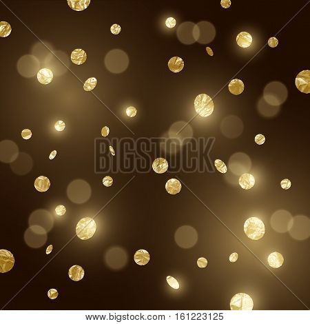 Large Gold glitter Confetti party background. Vector illustration