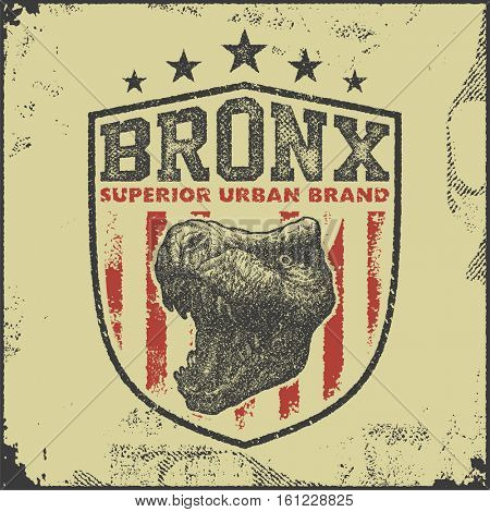 vintage bronx typography, t-shirt graphics, vector illustration