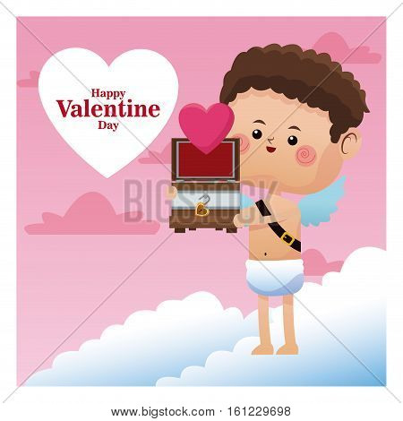 happy valentine day cupid giving wooden chest heart vector illustration eps 10