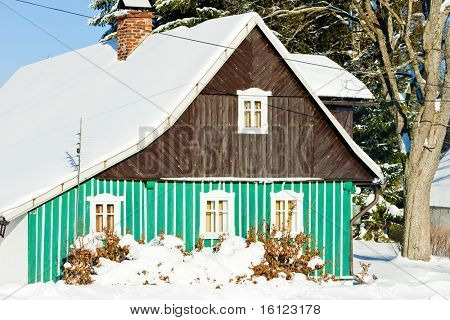 cottage in winter, Kunstat - Jadrna, Orlicke Mountains, Czech Republic