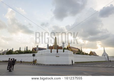 BANGKOK THAILAND - NOV 10 : corner of wat phra kaew at Ratchadamnoen Nai road in sanam luang area while the funeral of king Bhumibol Adulyadej in Grand Palace on november 10 2016