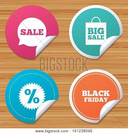 Round stickers or website banners. Sale speech bubble icon. Discount star symbol. Black friday sign. Big sale shopping bag. Circle badges with bended corner. Vector