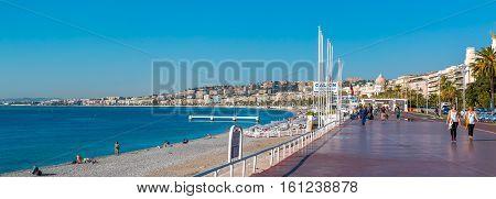 Famous Promenade Des Anglais And Nice City Coastline