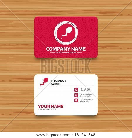Business card template with texture. Sperm sign icon. Fertilization or insemination symbol. Phone, web and location icons. Visiting card  Vector