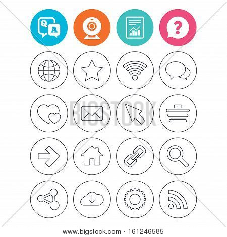 Internet and Web icons. Wi-fi network, favorite star and internet globe. Hearts, shopping cart and speech bubbles. Share, rss and link symbols. Report document, question and answer icons. Vector