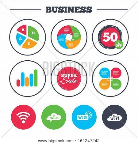 Business pie chart. Growth graph. Free Wifi Wireless Network cloud speech bubble icons. Wi-fi zone sign symbols. Super sale and discount buttons. Vector