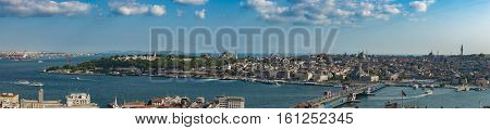 Istanbul Old Town Panorama with Topkapi Palace and The Mosques