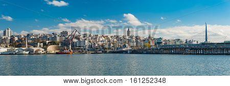 Galata Tower and Bridge in Istanbul Turkey