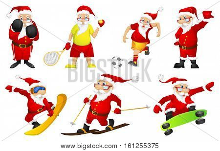Set of sporty Santa Claus characters playing tennis. Set of cute Santa Claus characters dressed as sportsmen. Excited Santa Claus playing football. Vector illustration isolated on white background.