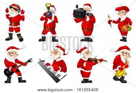 Set of Santa Claus characters photographing with photo camera. Santa Claus working with photo camera. Santa Claus taking a video with video camera. Vector illustration isolated on white background.