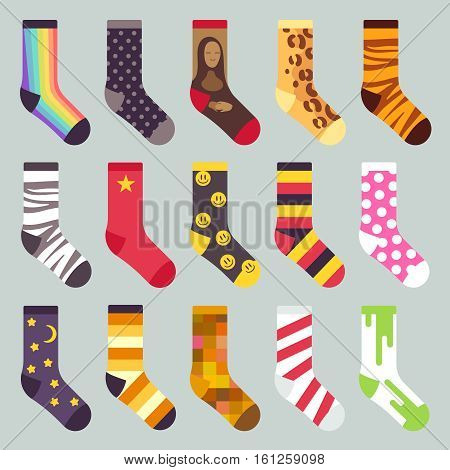 Textile colorful child warm socks vector. Set of sock with colored pattern, illustration of wool socks