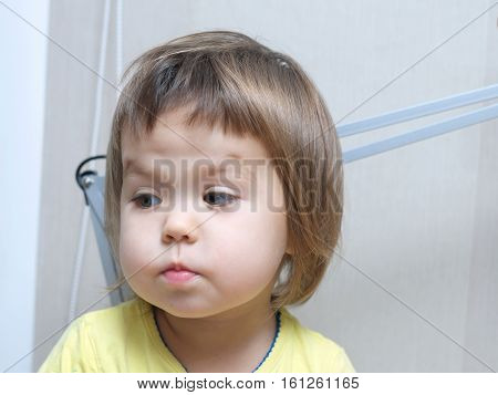 Funny Baby Girl Portrait, Cute Child Face With Cute Sweet Cheeks