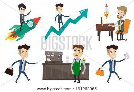 Businessman flying on the business start up rocket. Businessman on business start up rocket waving. Business start up concept. Set of vector flat design illustrations isolated on white background.