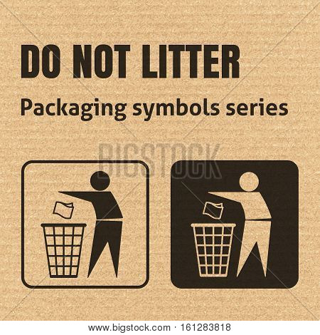Do Not Litter Packaging Symbol On A Corrugated Cardboard Background. For Use On Cardboard Boxes, Pac