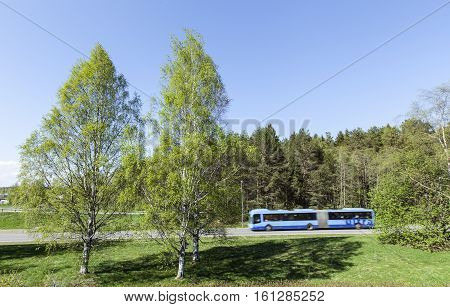UMEA, SWEDEN ON MAY 21. View of a bus in motion, trees and meadows on May 21, 2013 in Umea, Sweden. Sunshine in spring. Birches, forest and roads. Editorial use.