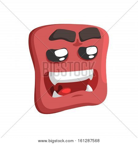 Brown Sweet Talking Emoji Cartoon Square Funny Emotional Face Vector Colorful Isolated Sticker. Comic Childish Character Head With Facial Expression For Emoticon Icon.