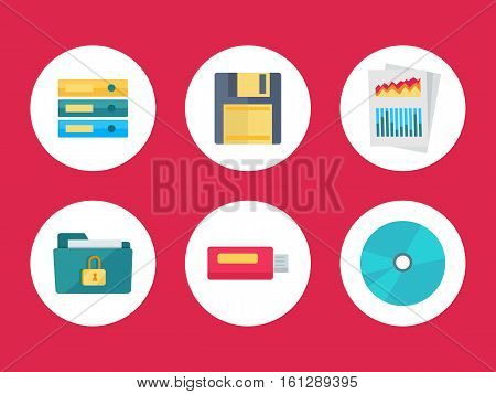 Flat icons for web and mobile applications. Folders floppy disk document with charts secured folder USB flash drive CD or DVD disk. Equipment for data storage. Data recovery. Vector in flat style