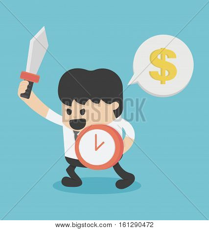 businessman enough to fight Hold Shield of Time And Sword For success Business Concept Cartoon Illustration.