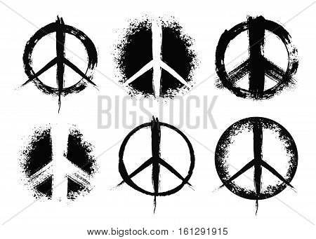 Pacifist peace symbols set. Hand drawn signs. Grunge brush strokes design elements. Black white hippie signs. Irregular chaotic order. Unusual vector illustration.