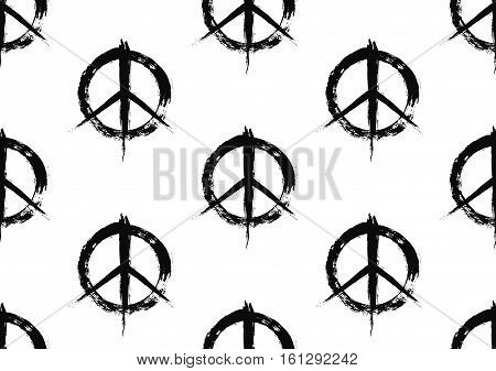 Pacifist peace symbols pattern. Seamless hand drawn background. Grunge brush strokes design elements. Black white hippie signs. Regular repetition. Unusual vector illustration.