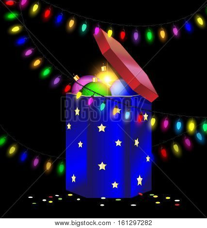 black background and the large blue red gift box with decorative balls inside, colored light garland