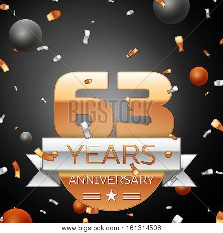Sixty three years anniversary celebration background with silver ribbon confetti and circles. Anniversary ribbon. Vector illustration.