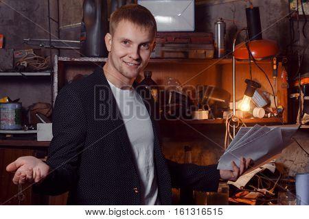 man in suit on an industrial premises, businessman